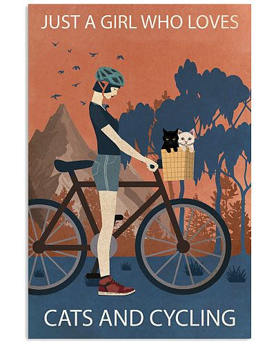 Vintage Girl Loves Cats And Cycling