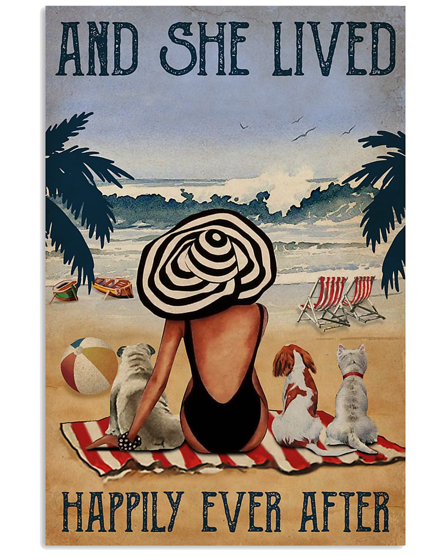 Vintage Beach Lived Happily Dogs Girl 11x17 Poster