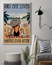 Vintage Beach Lived Happily Dogs Girl 11x17 Poster lifestyle-poster-1