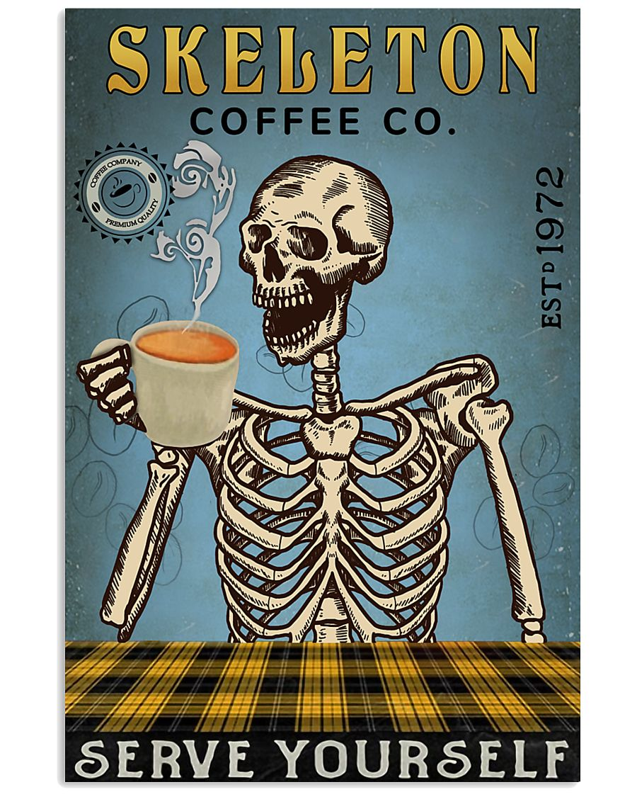 Vintage Coffee Company Skeleton 11x17 Poster