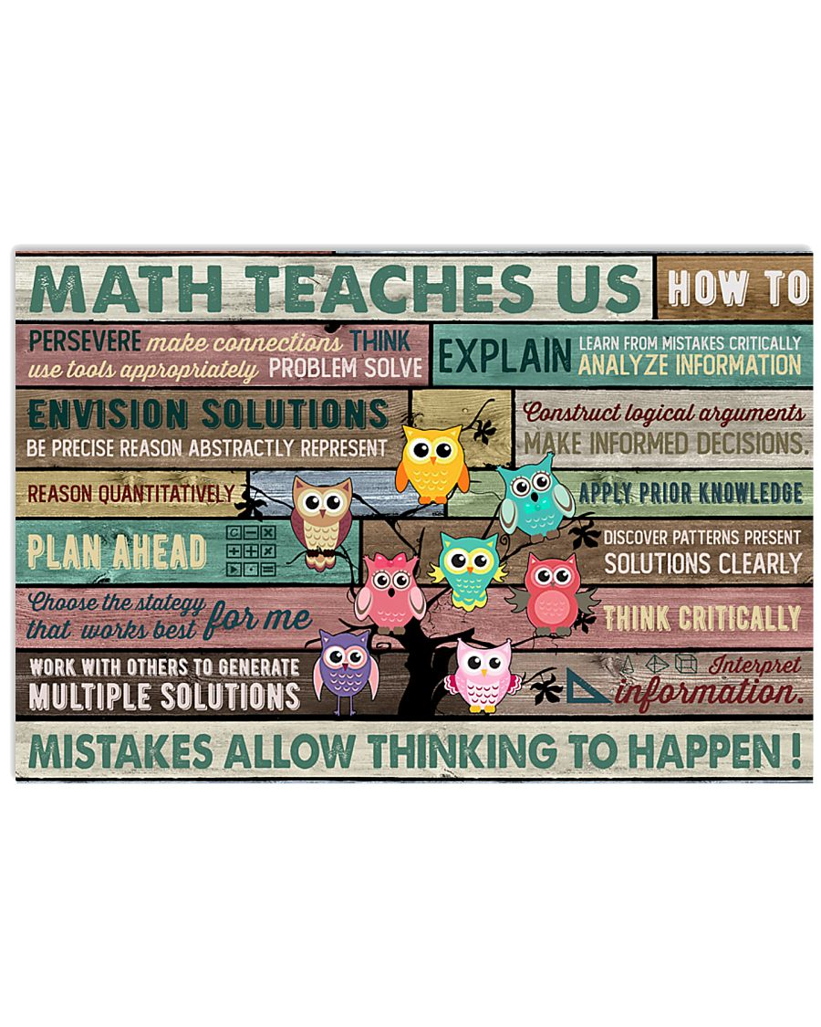 Colorful Pallet Owl Math Teaches Us 24x16 Poster