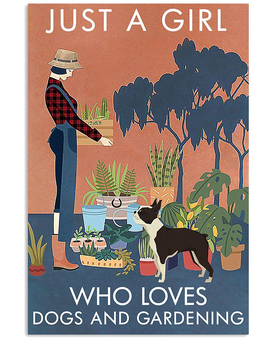 Vintage Just A Girl Loves Gardening Boston Terrier 16x24 Poster