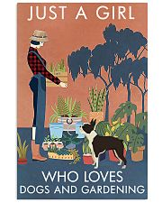 Vintage Just A Girl Loves Gardening Boston Terrier 16x24 Poster front