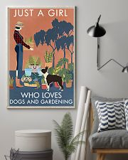 Vintage Just A Girl Loves Gardening Boston Terrier 16x24 Poster lifestyle-poster-1