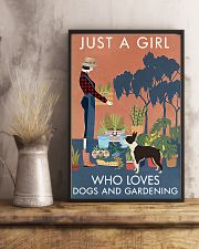 Vintage Just A Girl Loves Gardening Boston Terrier 16x24 Poster lifestyle-poster-3