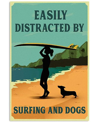 Vintage Easily Distracted Surfing Girl Dachshund