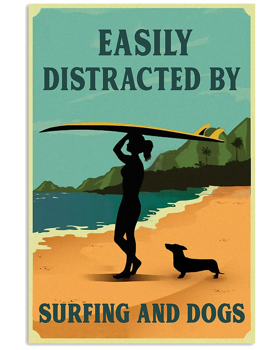 Vintage Easily Distracted Surfing Girl Dachshund 11x17 Poster
