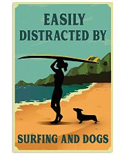 Vintage Easily Distracted Surfing Girl Dachshund 11x17 Poster front
