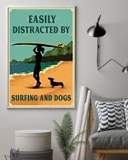 Vintage Easily Distracted Surfing Girl Dachshund 11x17 Poster lifestyle-poster-1