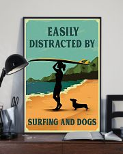 Vintage Easily Distracted Surfing Girl Dachshund 11x17 Poster lifestyle-poster-2