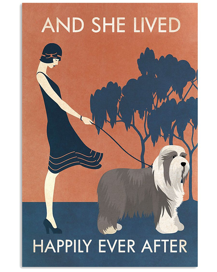 Vintage Girl Lived Happily Bearded Collie 11x17 Poster
