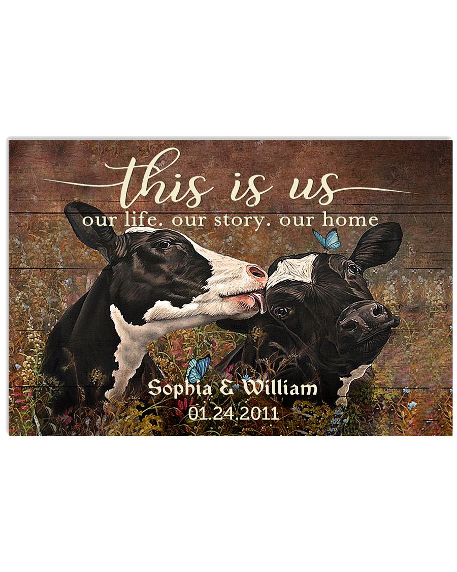 Personalized Holstein Cattle This is Us 24x16 Poster