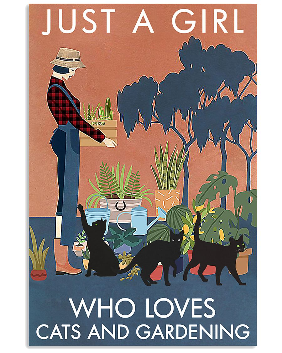 Vintage Just A Girl Loves Gardening And Black Cat 11x17 Poster