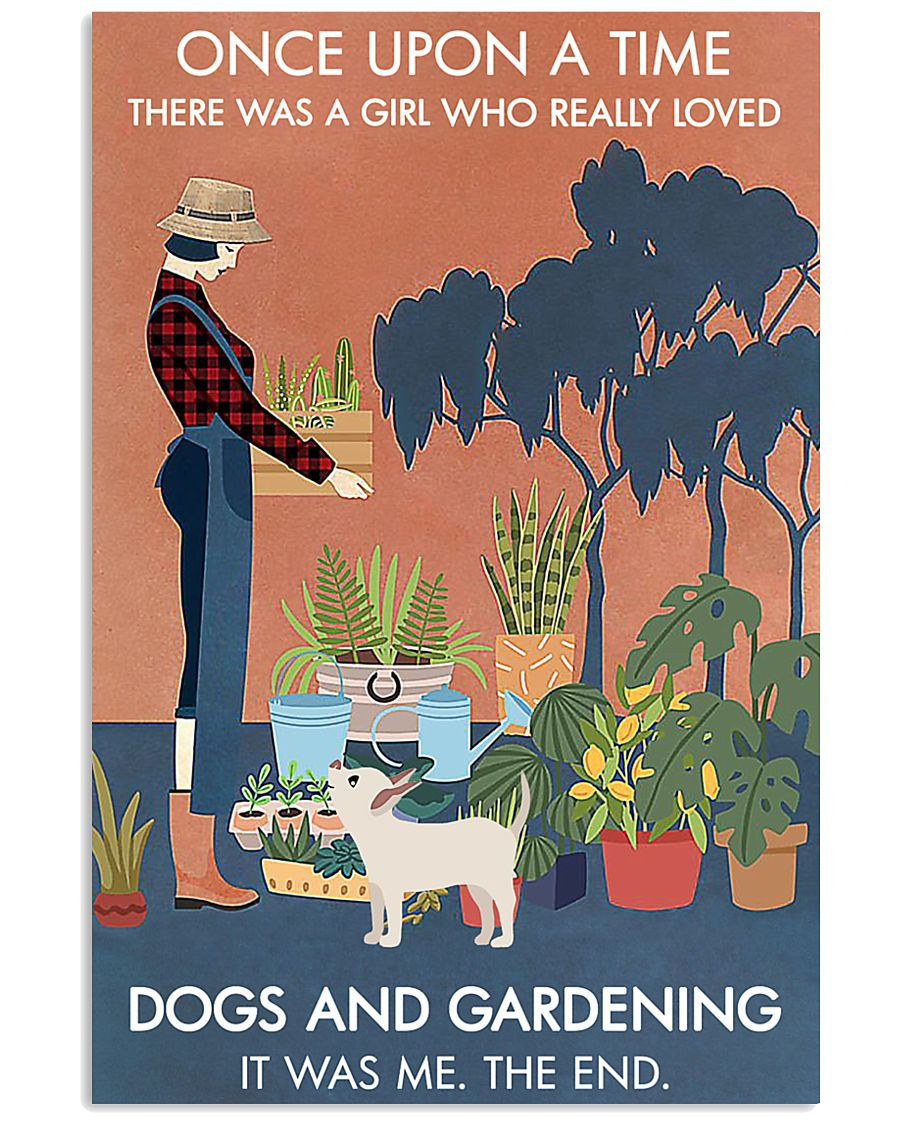 Vintage Once Upon A Time Dog Gardening 16x24 Poster