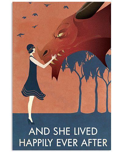 Vintage Girl She Lived Happily Dragon