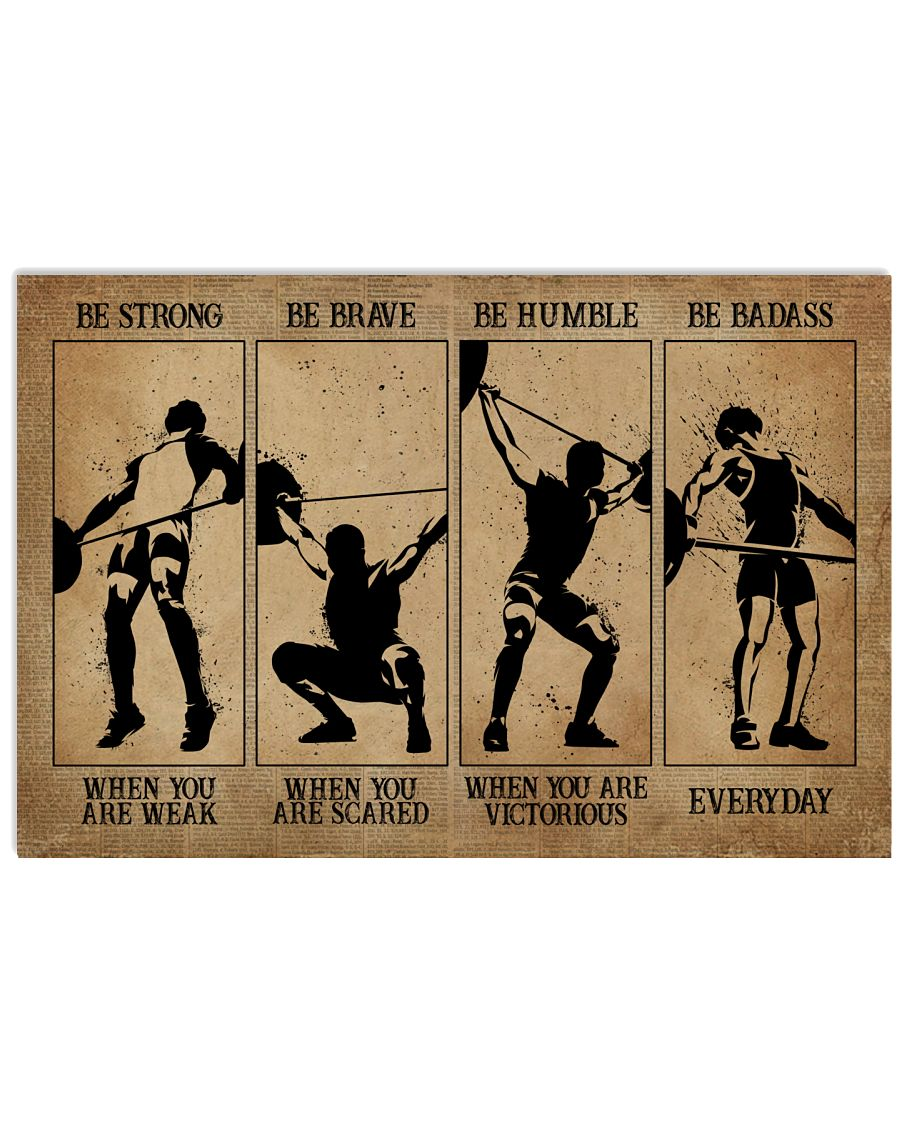 Men Weightlifting be strong be human be brave poster