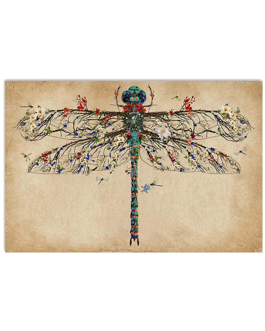 Vintage Floral Dragonfly 17x11 Poster