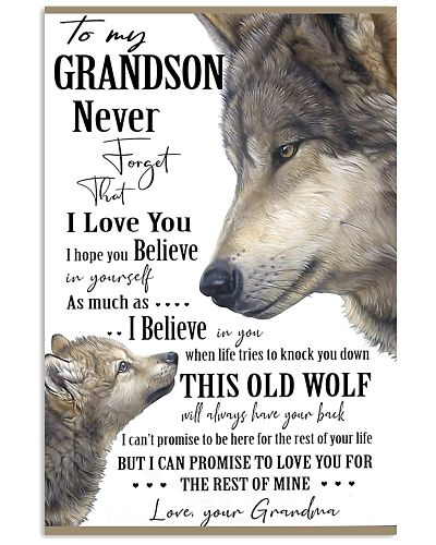 To My Grandson Never Forget Your Grandma Wolf