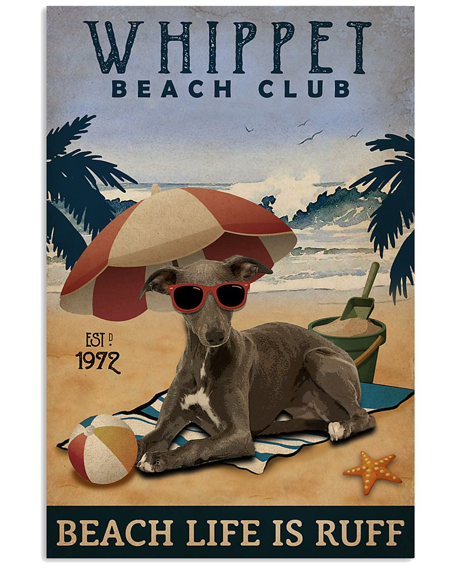 Vintage Beach Club Is Ruff Whippet 11x17 Poster