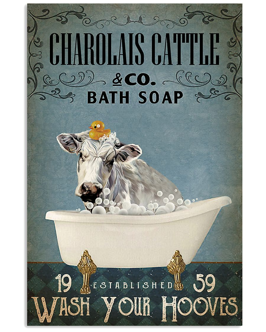 Vintage Bath Soap Charolais Cattle 11x17 Poster
