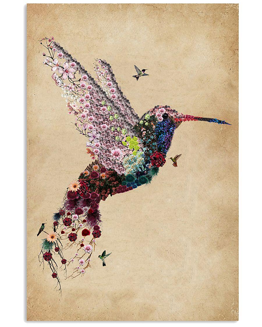 Vintage Floral Hummingbird  11x17 Poster