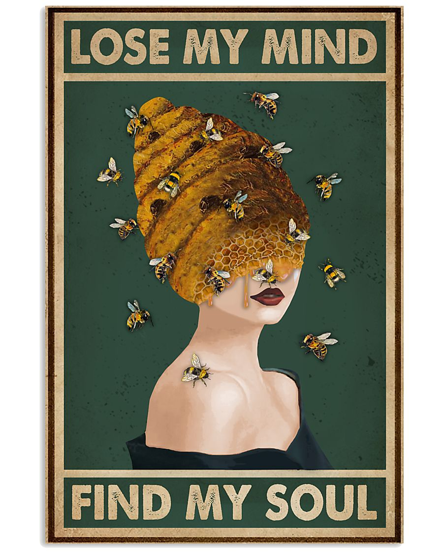 Retro Green Find My Soul Bee Lady 11x17 Poster