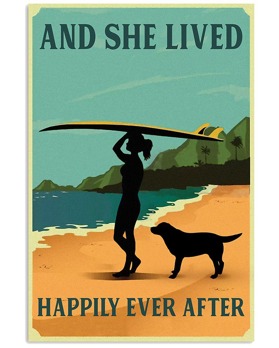 She Lived Happily Surfing Labrador Retriever 11x17 Poster