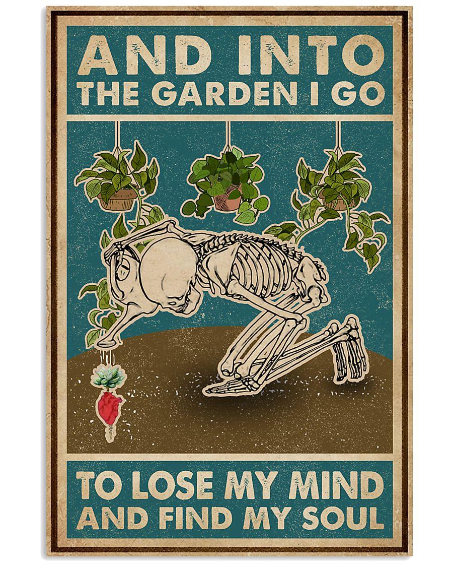 Retro Teal Skeleton Into The Garden 11x17 Poster