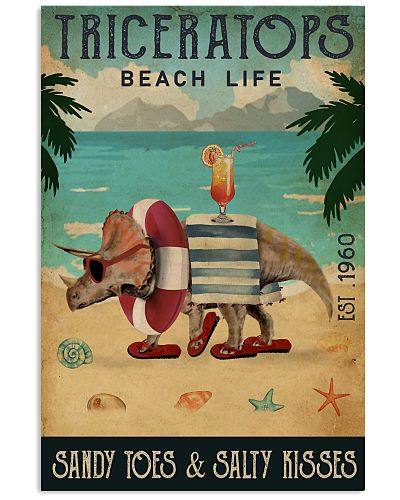 Vintage Beach Cocktail Life Triceratops