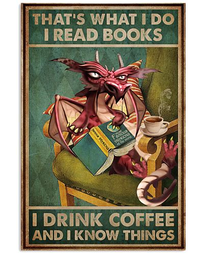 Read Books And Drink Coffee Dragon