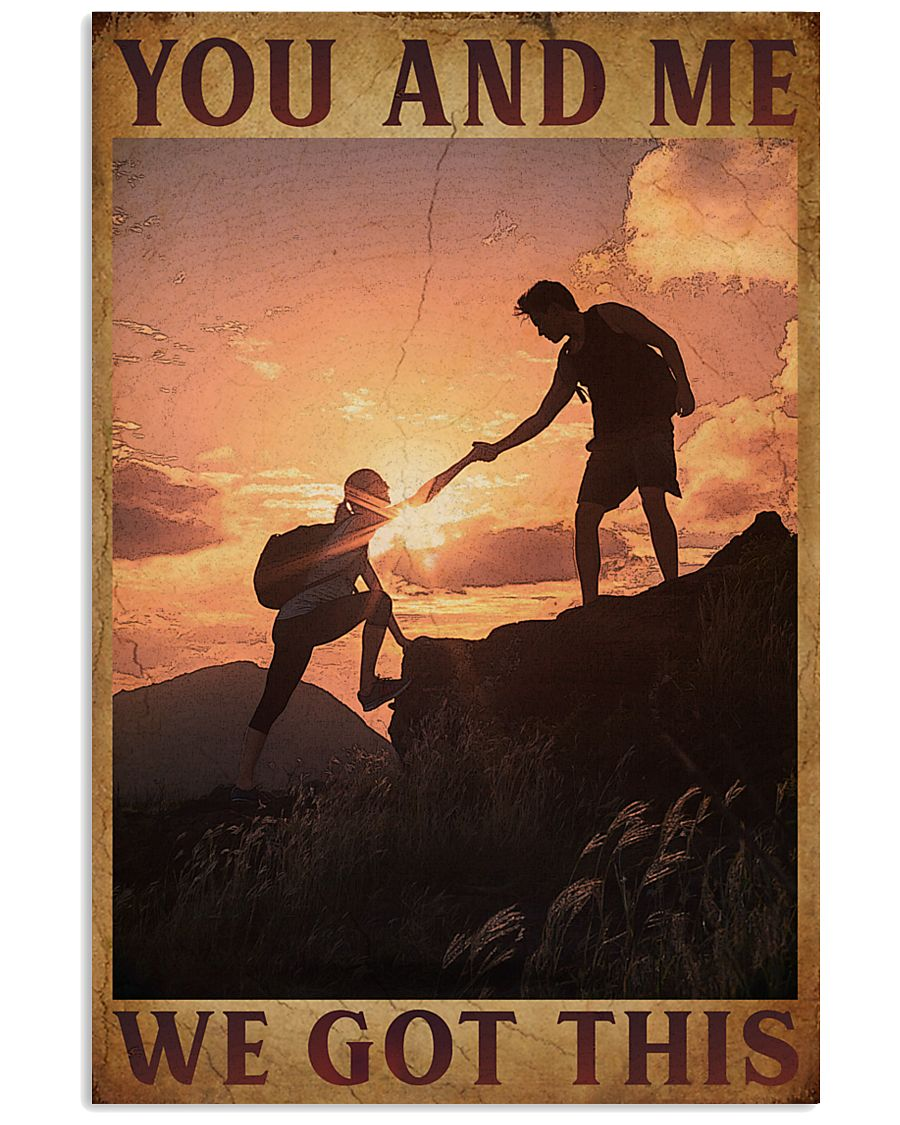 Retro You And Me Hiking 16x24 Poster