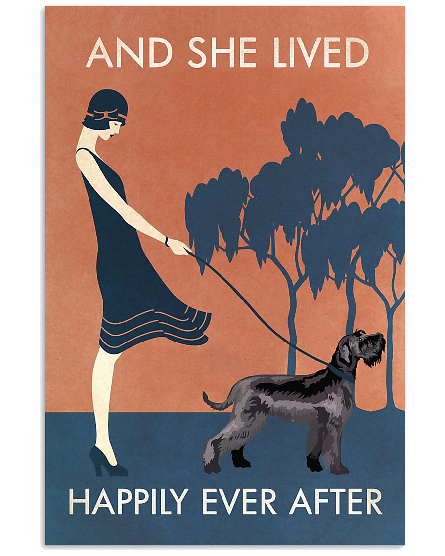 Vintage Girl Lived Happily Giant Schnauzer 11x17 Poster