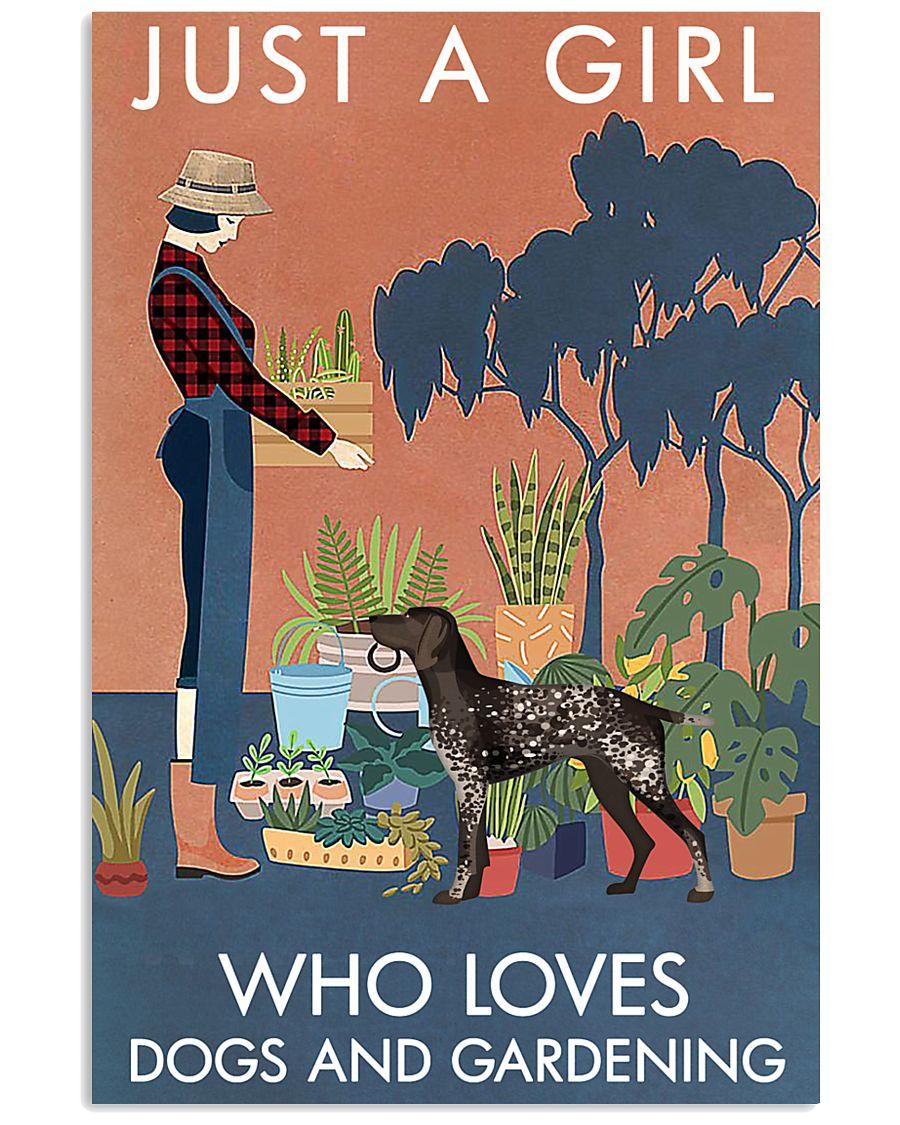 Vintage Girl Loves Gardening German Shorthaired 11x17 Poster
