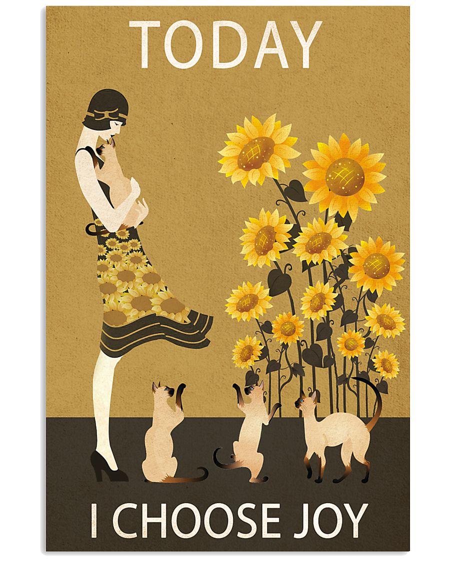 Sunflower Vintage Choose Joy Siamese Cat 11x17 Poster