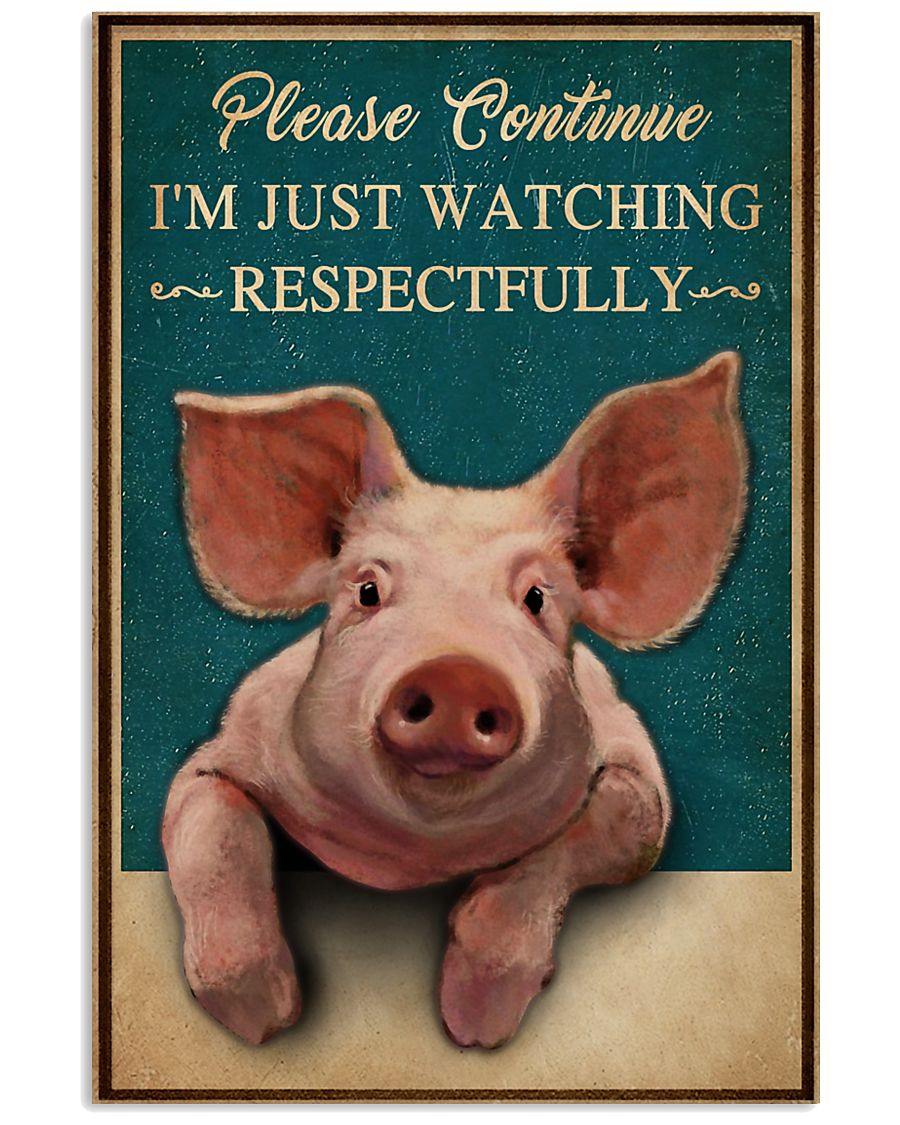 Retro Teal Watching Respectfully Pig 16x24 Poster