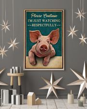Retro Teal Watching Respectfully Pig 16x24 Poster lifestyle-holiday-poster-1