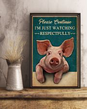 Retro Teal Watching Respectfully Pig 16x24 Poster lifestyle-poster-3