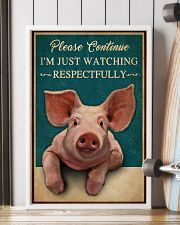 Retro Teal Watching Respectfully Pig 16x24 Poster lifestyle-poster-4