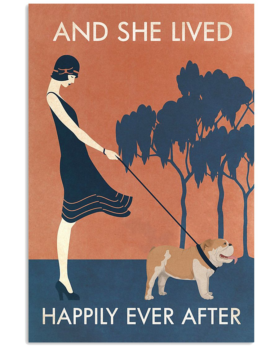 Vintage Girl She Lived Happily Bulldog 11x17 Poster
