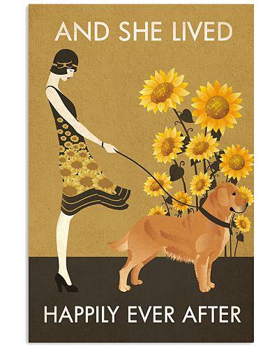 Sunflower Vintage Girl Happily Golden Retriever