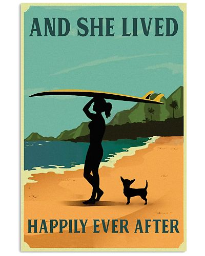 Vintage She Lived Happily Surfing Girl Chihuahua