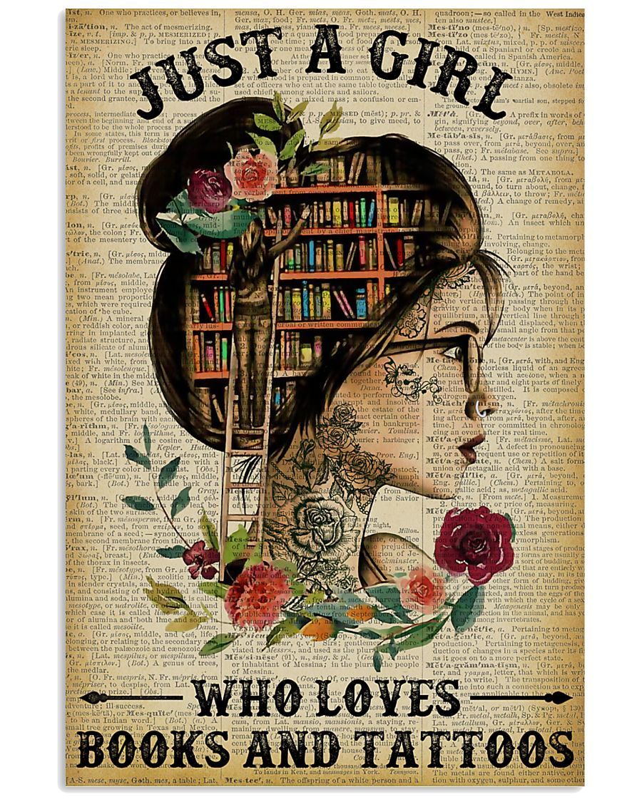 A Girl Who Loves Books And Tattoos Reading 16x24 Poster