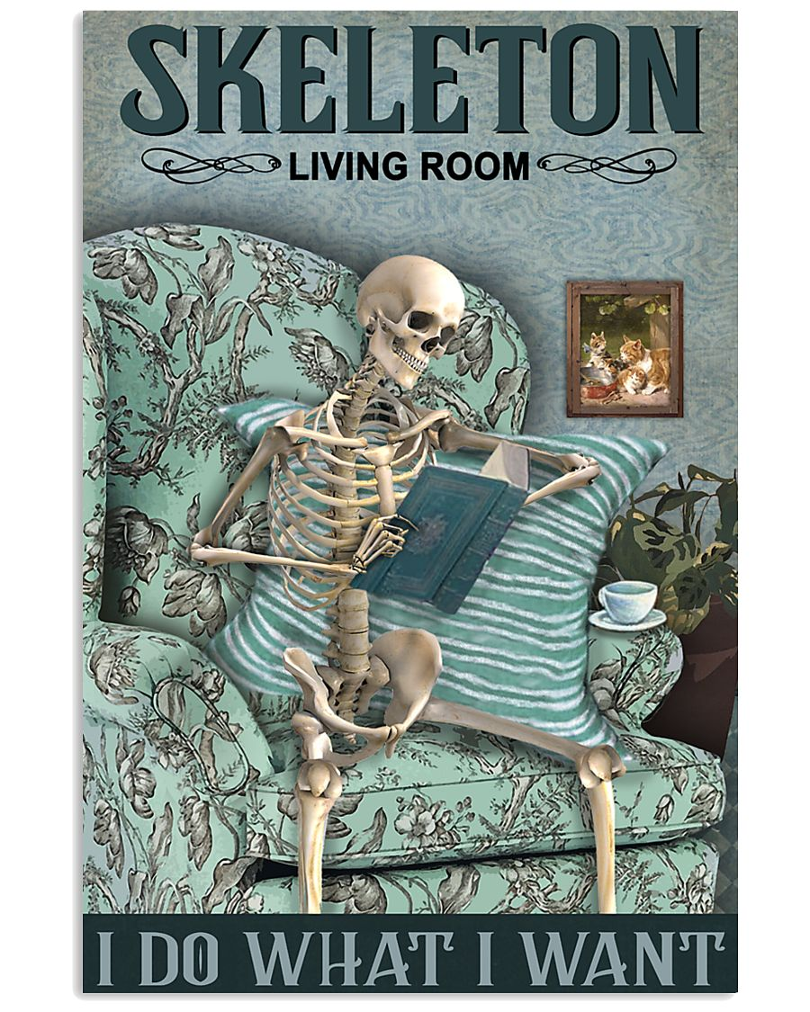 Vintage Living Room Skeleton 11x17 Poster