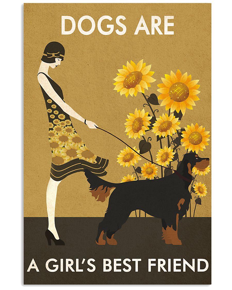 Sunflower Vintage Girl Love Is Gordon Setter 11x17 Poster