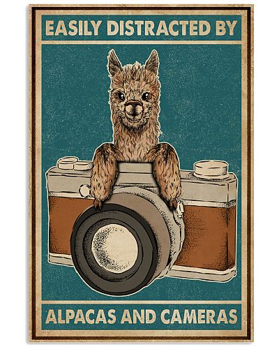 Retro Teal Easily Distracted Camera And Alpaca