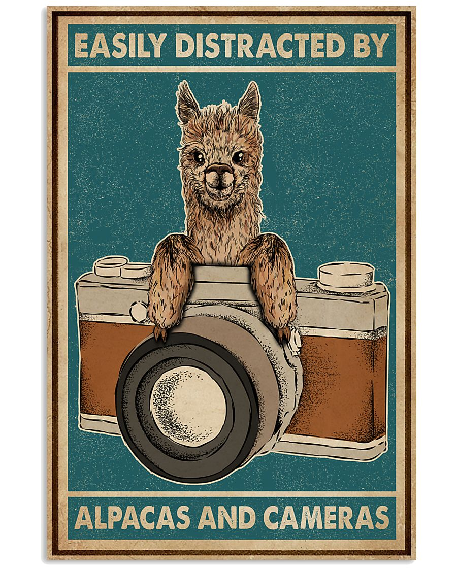Retro Teal Easily Distracted Camera And Alpaca 11x17 Poster