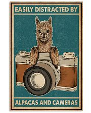 Retro Teal Easily Distracted Camera And Alpaca 11x17 Poster front