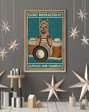 Retro Teal Easily Distracted Camera And Alpaca 11x17 Poster lifestyle-holiday-poster-1