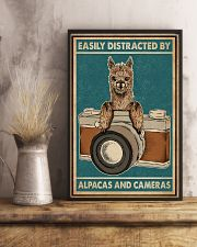 Retro Teal Easily Distracted Camera And Alpaca 11x17 Poster lifestyle-poster-3