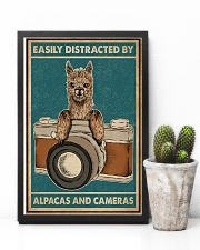 Retro Teal Easily Distracted Camera And Alpaca 11x17 Poster lifestyle-poster-8